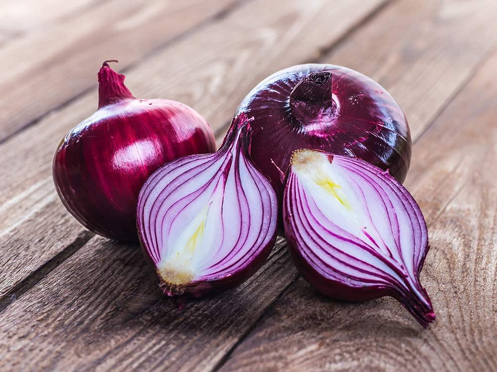 Red onions sliced in halves