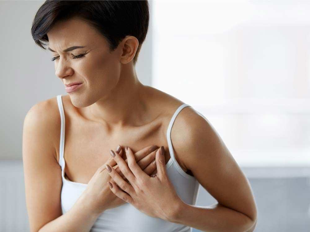 Young woman suffering from heart pains