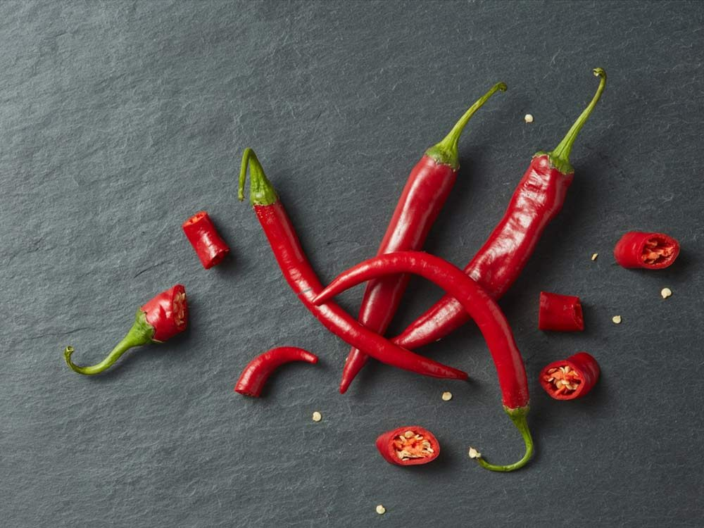 Sliced fresh red chillies