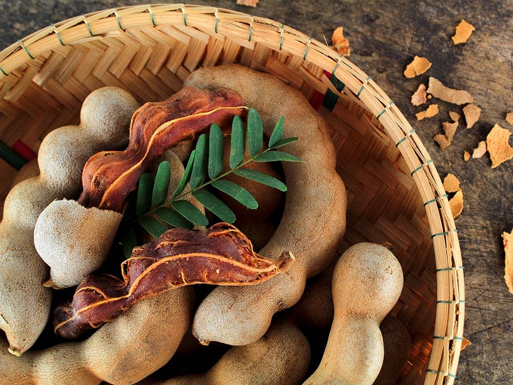 Fresh ripe tamarind in bowl