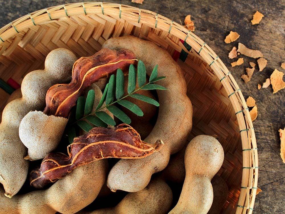 Fresh ripe tamarind in bowl