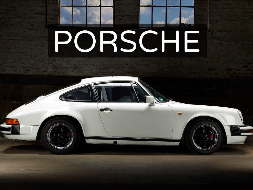 White vintage Porsche sports car
