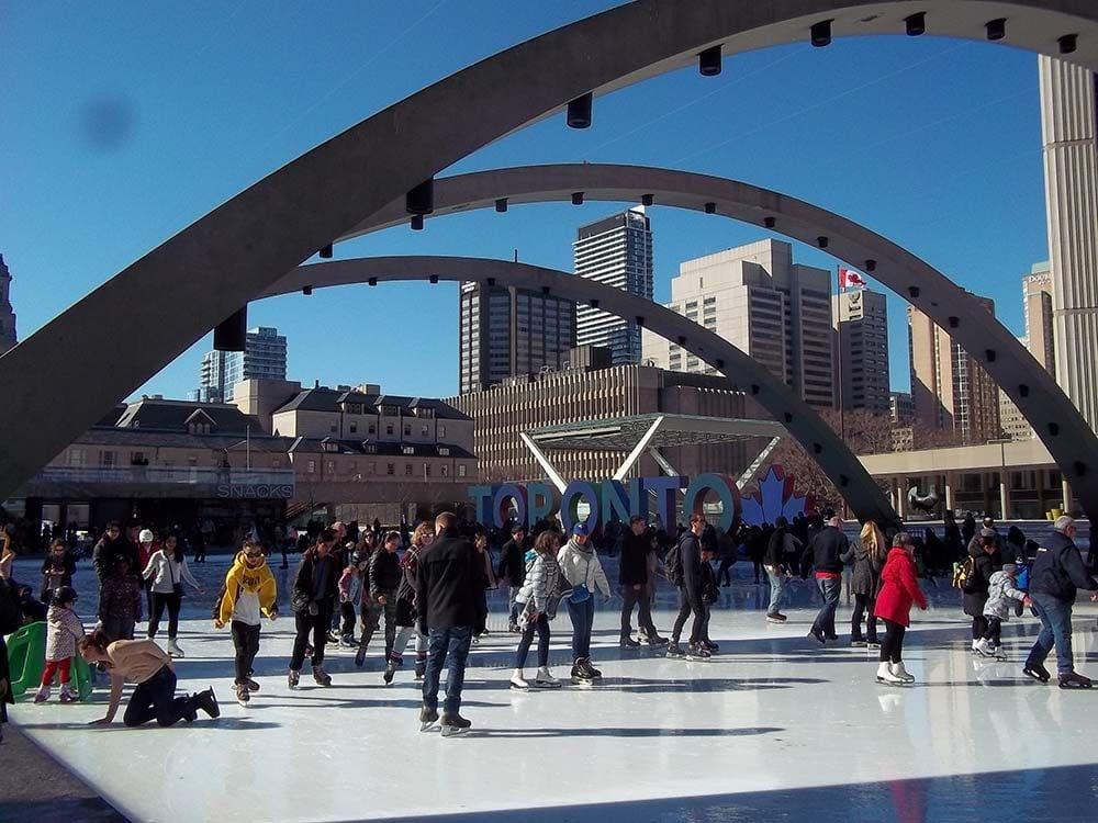 Skating at Nathan Philips Square in Toronto