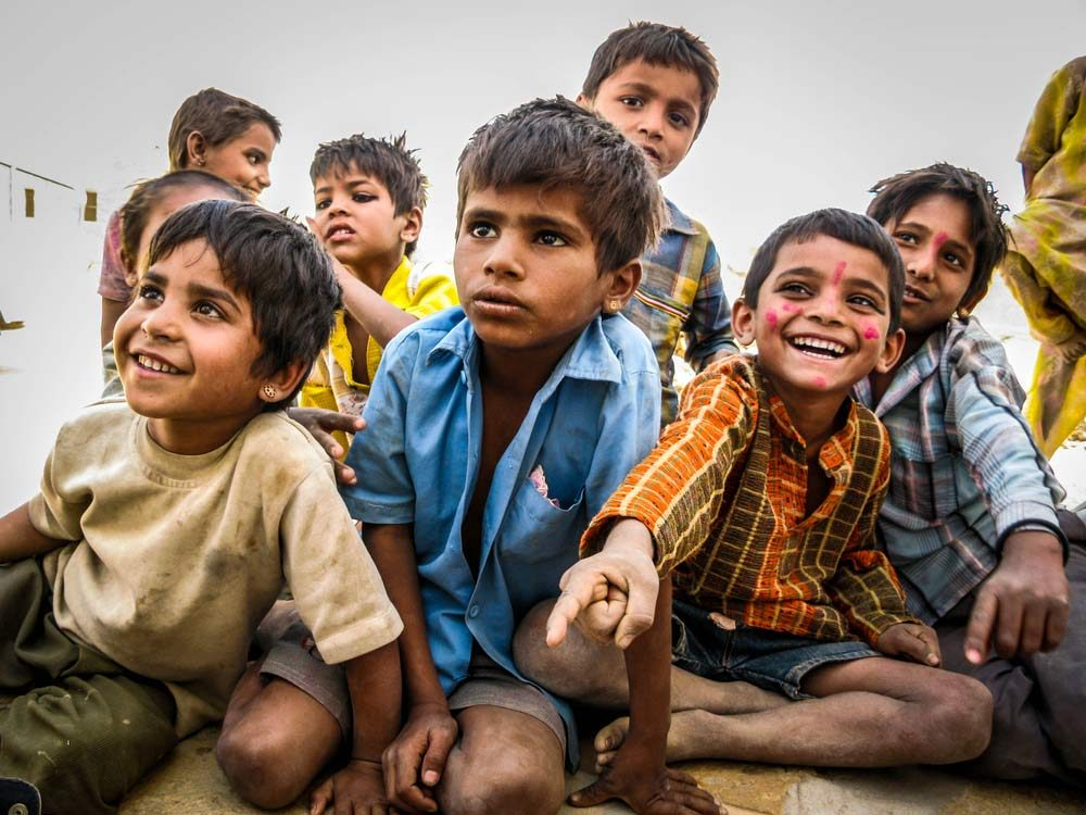 Group of children in India