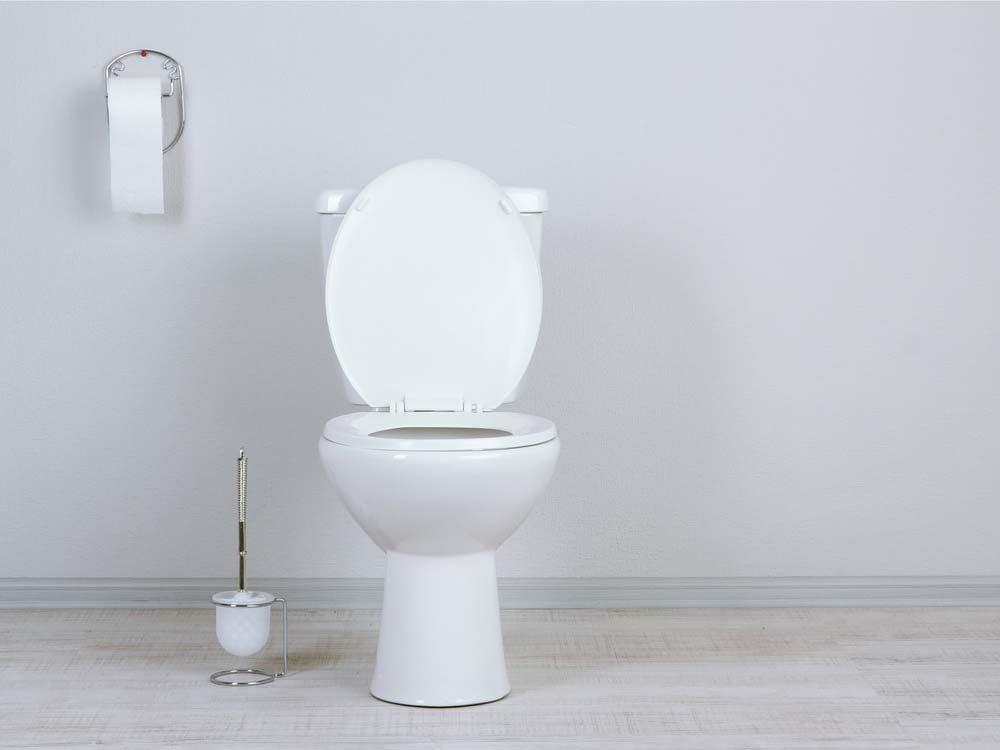 Toilet in white washroom