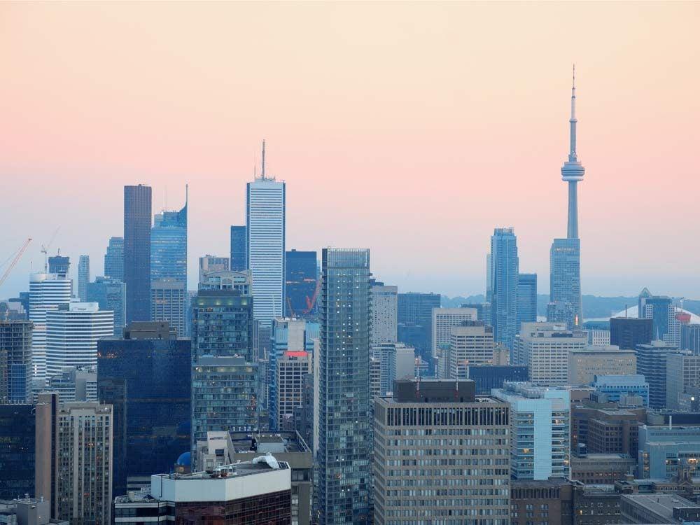 Toronto skyline with warm, overcast lighting