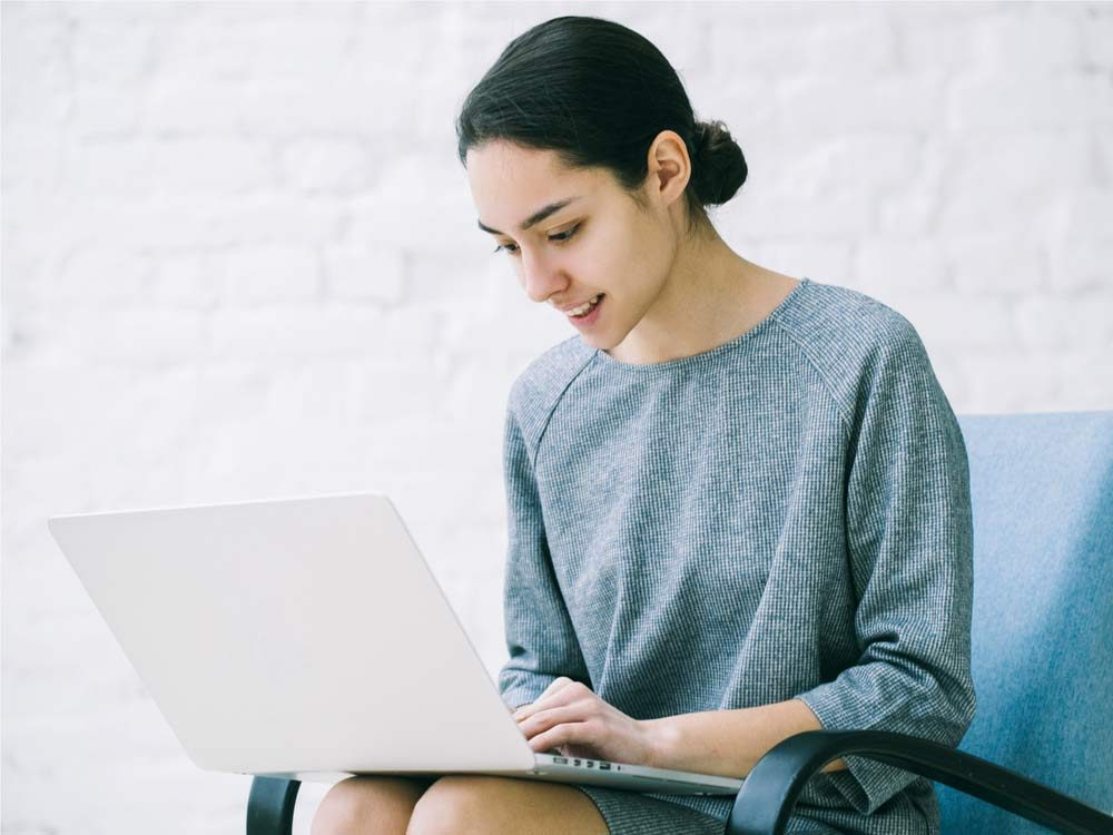 Attractive woman on laptop