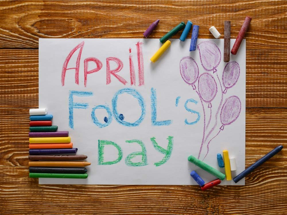 April Fool's Day banner drawn in crayon