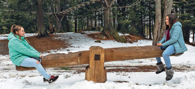 Winter fun - girls on seesaw