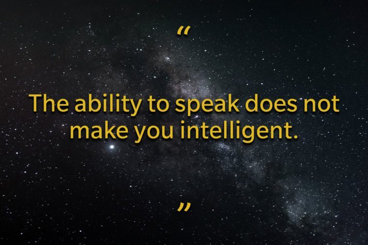 Star Wars quotes - the ability to speak does not make you intelligent
