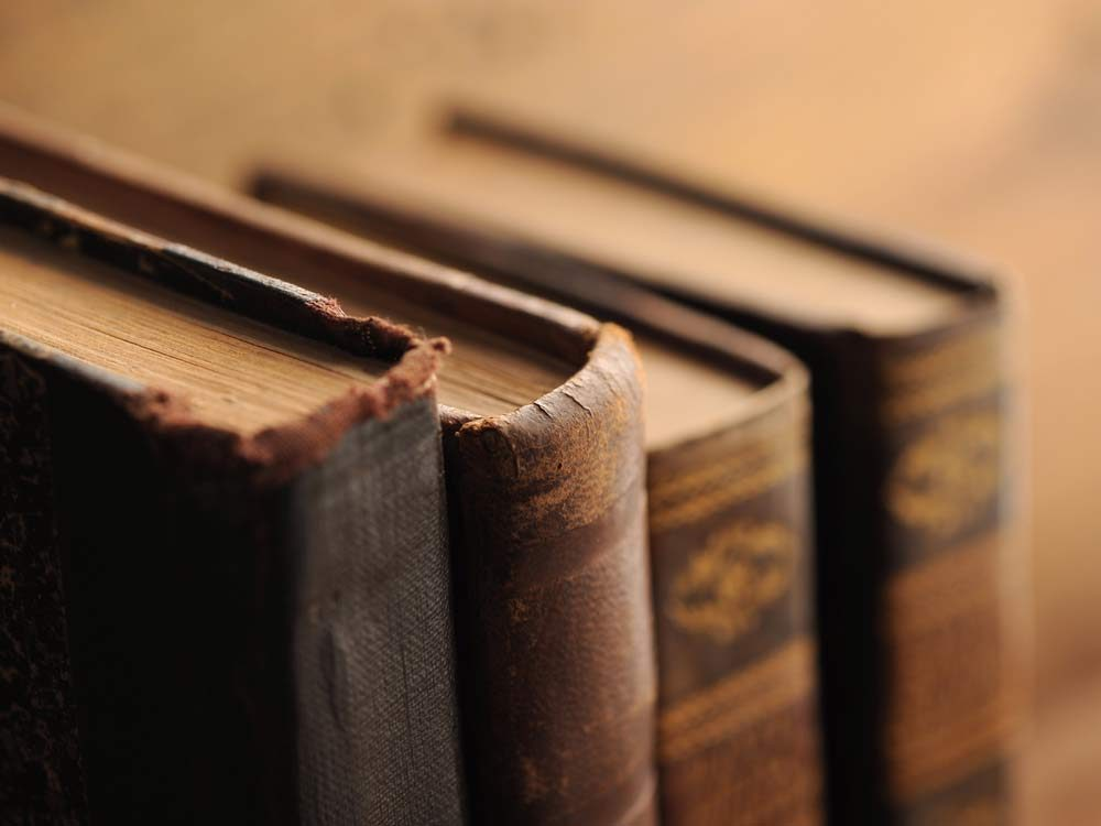 Close-up of old books