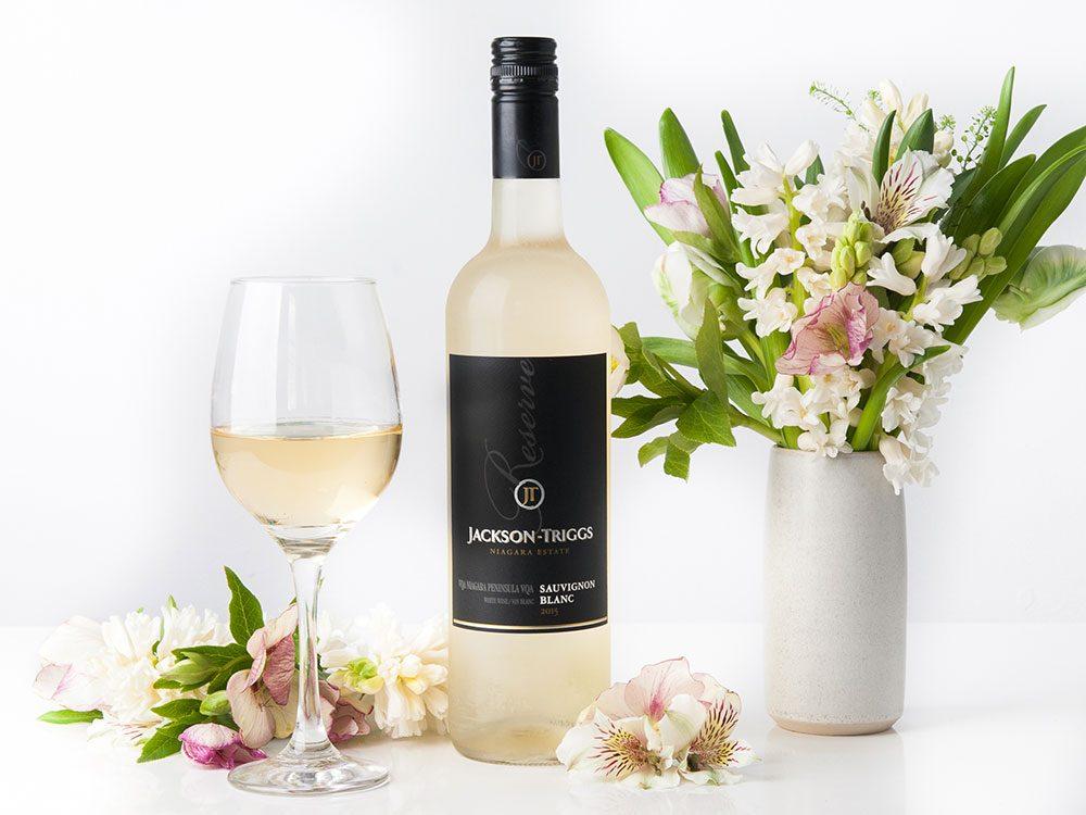 Jackson Triggs wine pairing with flower arrangement