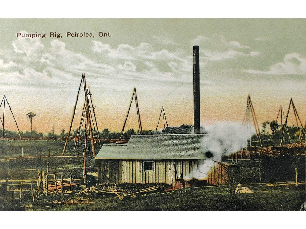 Old-time derricks at work in Petrolia, once known as Petrolea