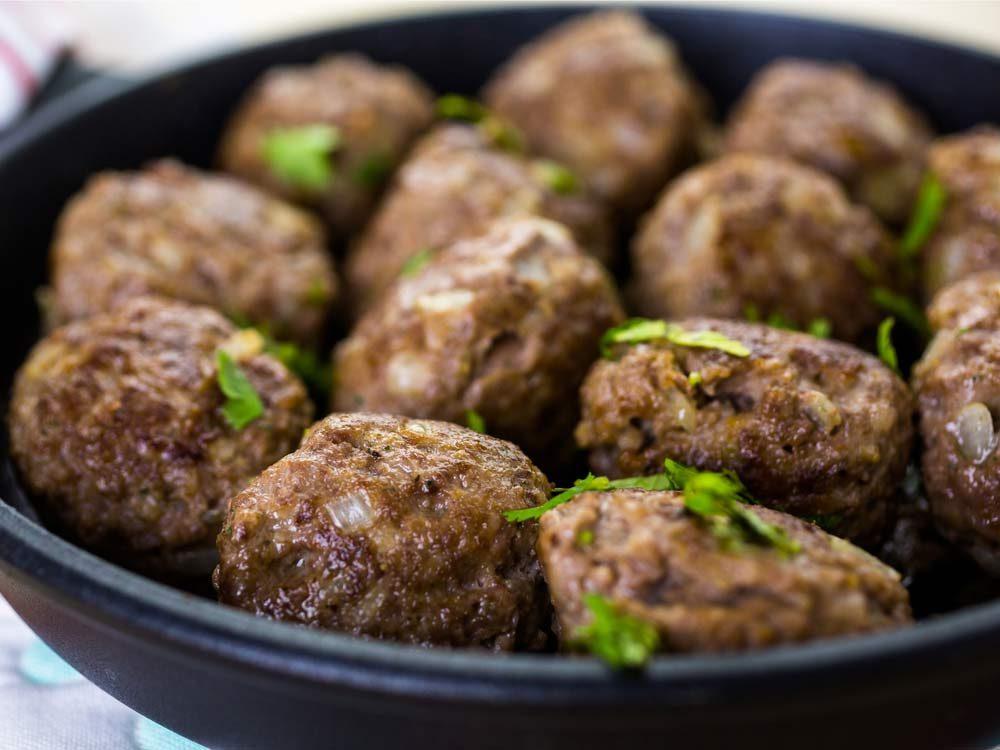 Meatballs in frying pan