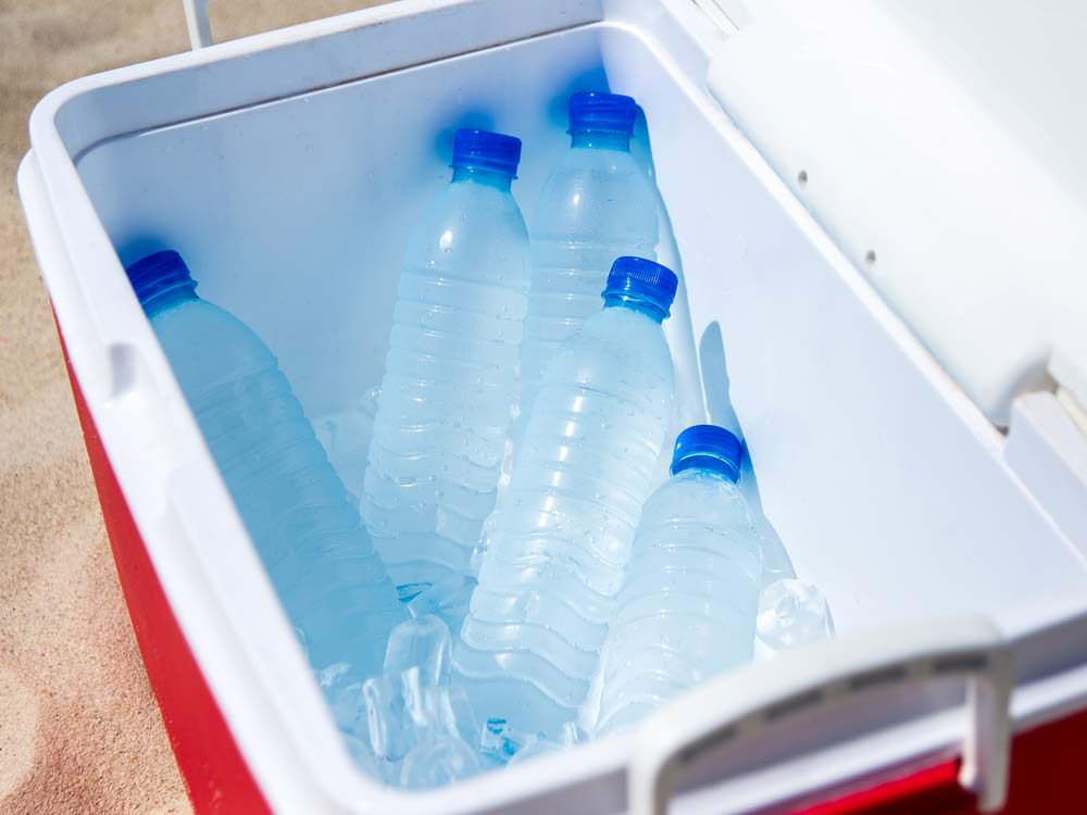 Cooler filled with water