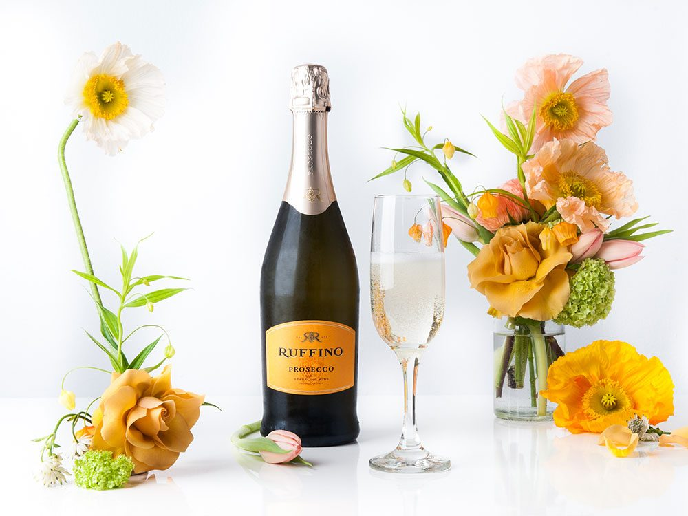 Ruffino Prosecco paired with a flower arrangement