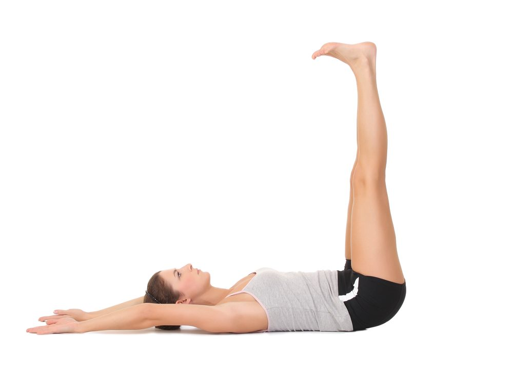 Pulse-ups are a core stability exercise that flattens your abs without crunches