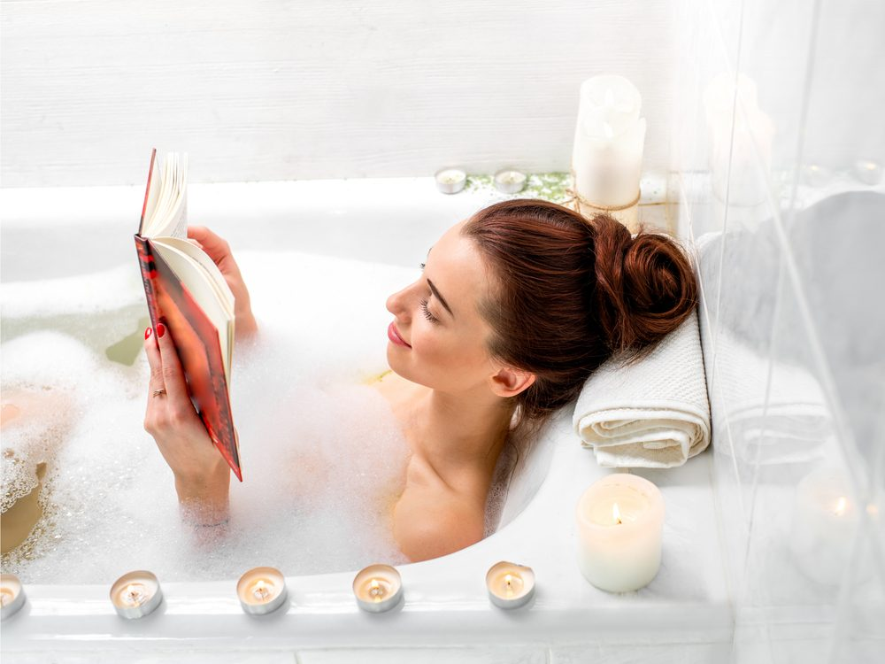 Having a relaxing bath is a home remedy for natural anxiety relief.