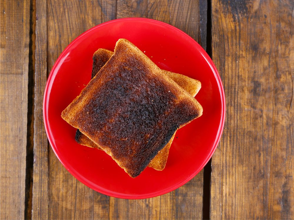 Burnt toast is a natural upset stomach home remedy.
