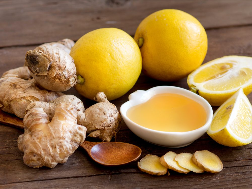 Lemon, gingery and honey in water is a natural sore throat remedy.
