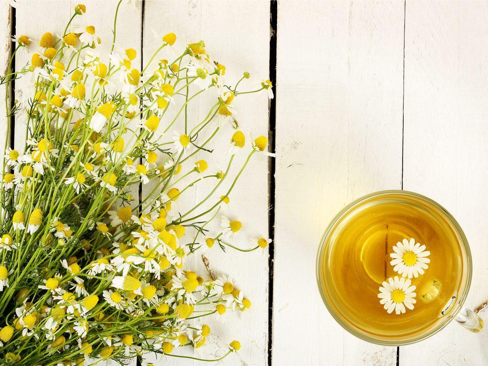 Brew chamomile tea as a headache home remedy