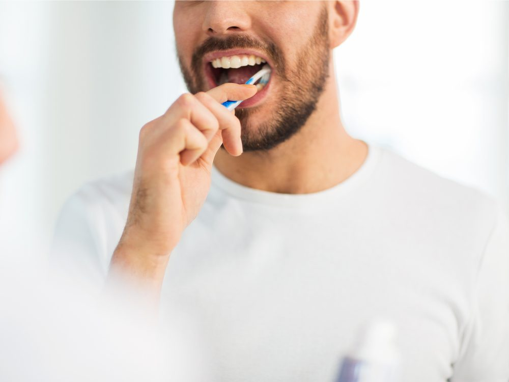 Brushing your teeth when you first get out of bed and before you get back in at night is a tip for healthy white teeth