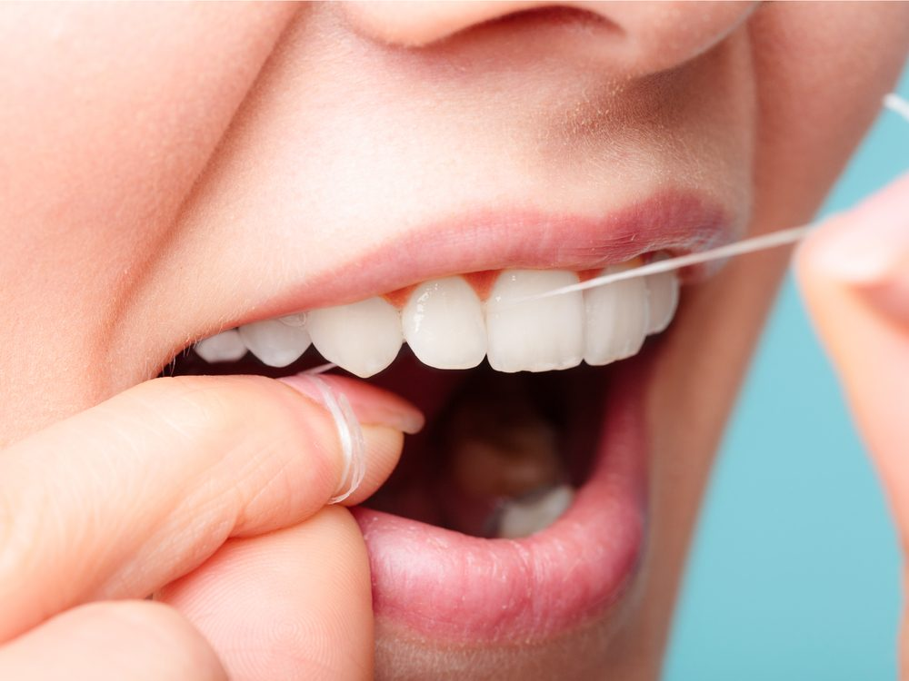 Practicing flossing with your eyes shut is a tip for healthy white teeth