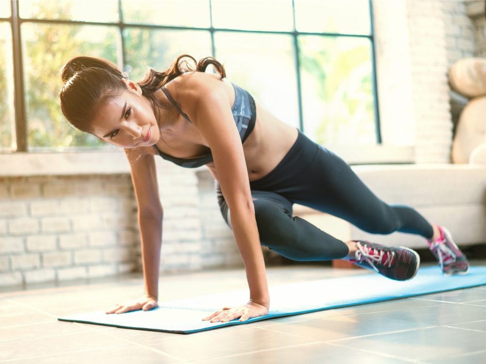 Mountain climbers is a core stability exercise that flattens your abs without crunches