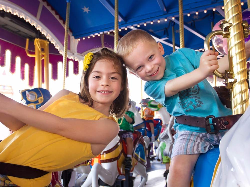 Two children on Merry-Go-Round