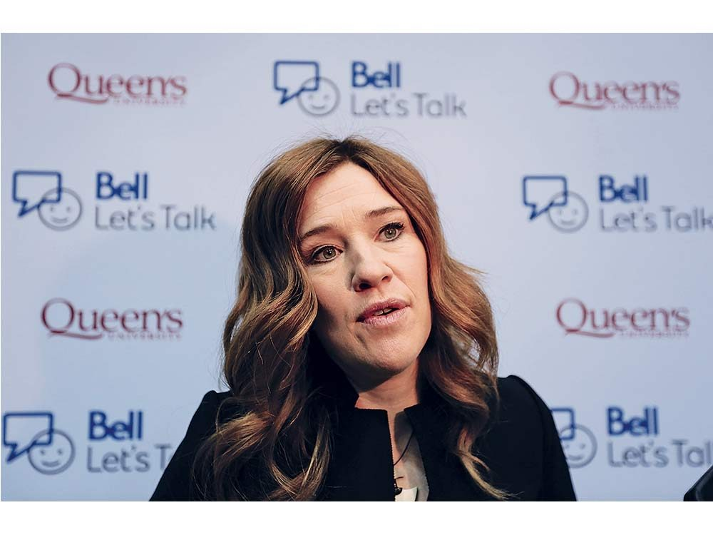 Clara Hughes speaking about mental health in Kingston, Ont.