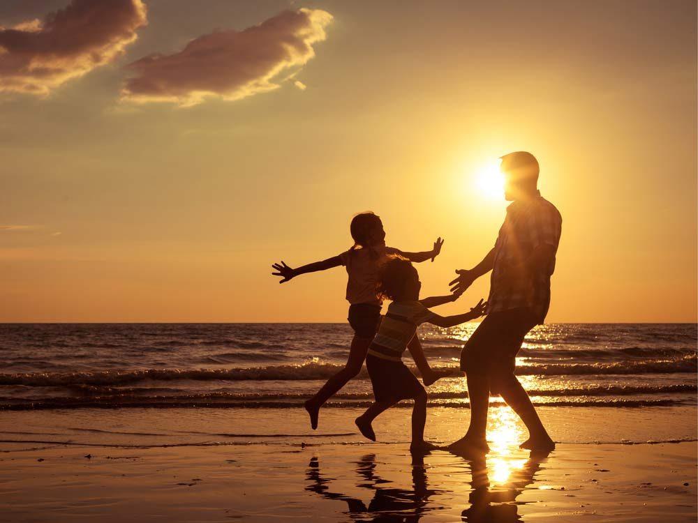 Family outdoors on beach