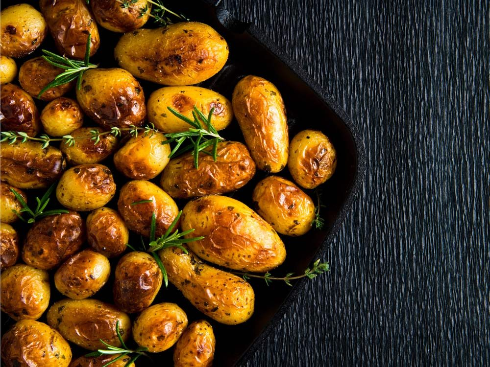 Use leftover stock in your roasted potatoes