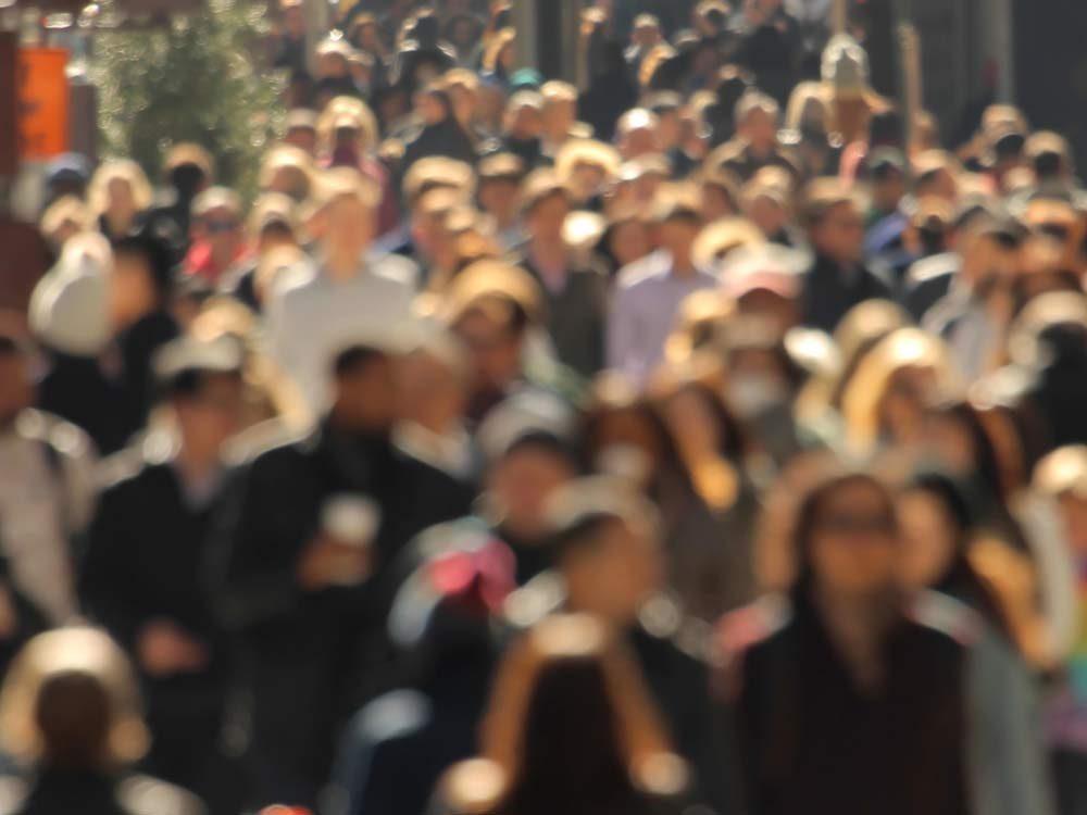 Blurred shot of crowded street