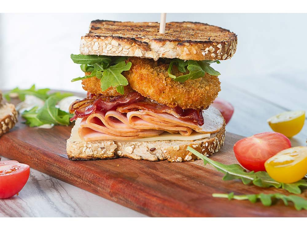 Bacon, Turkey and Fried Green Tomato Club Sandwich