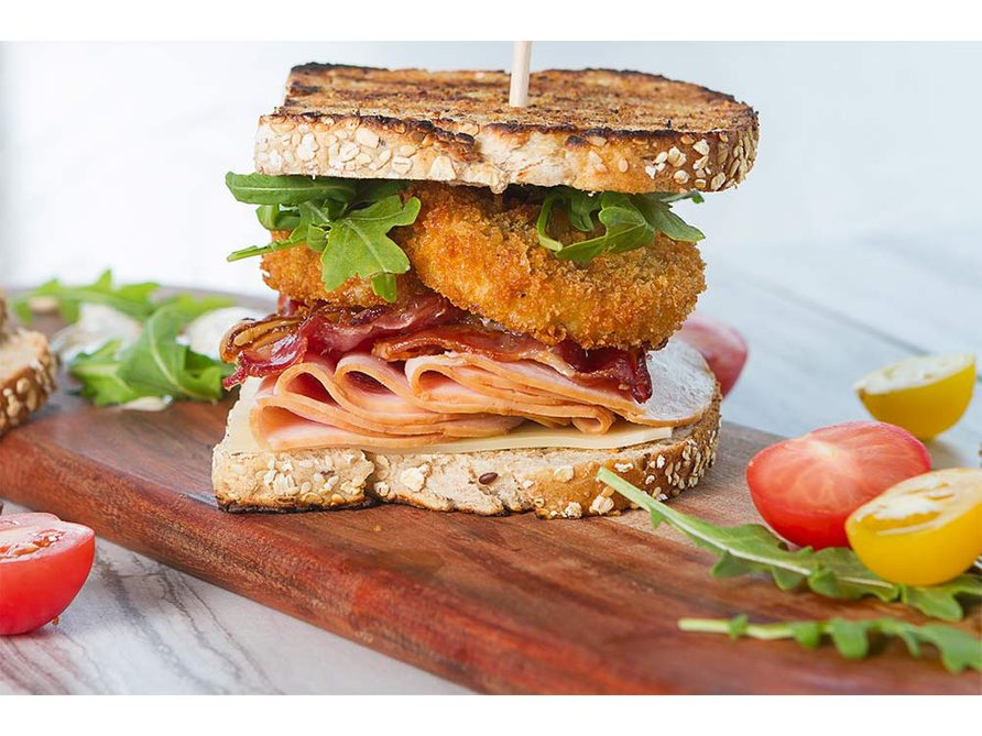 Bacon, Turkey and Fried Green Tomato Club Sandwich