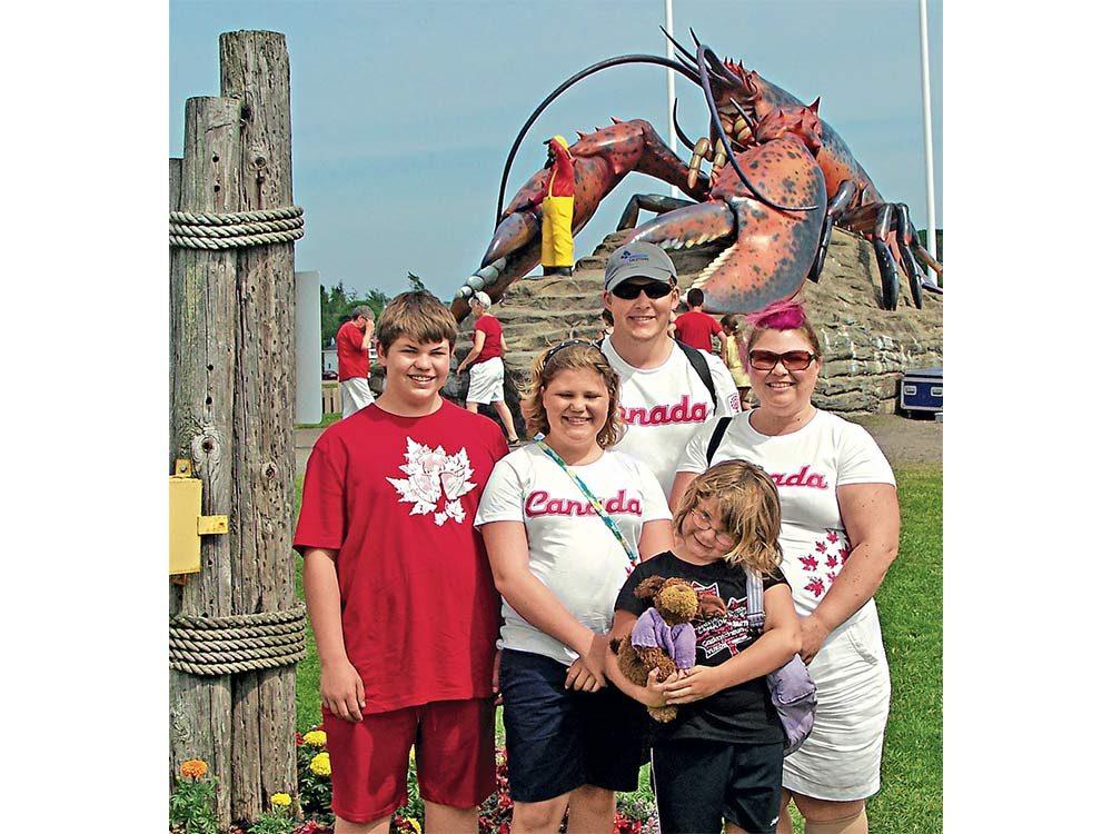 Family celebrating Canada Day