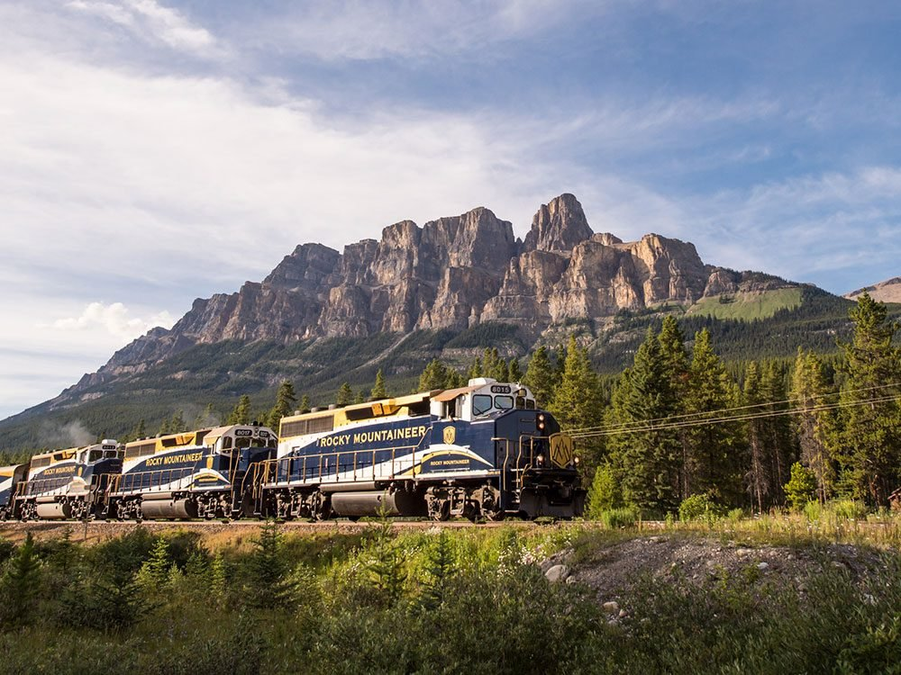 Castle Mountain and Rocky Mountaineer