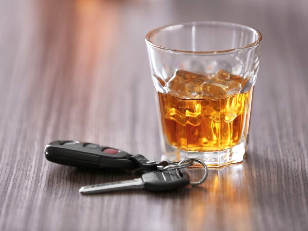 Alcohol with car keys