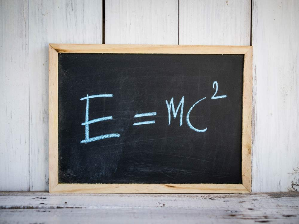 E=MC2 on chalkboard