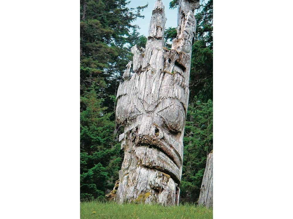 A decaying totem pole on Anthony Island