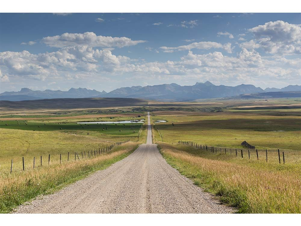 Rural scenic road out by Pincher Creek, AB