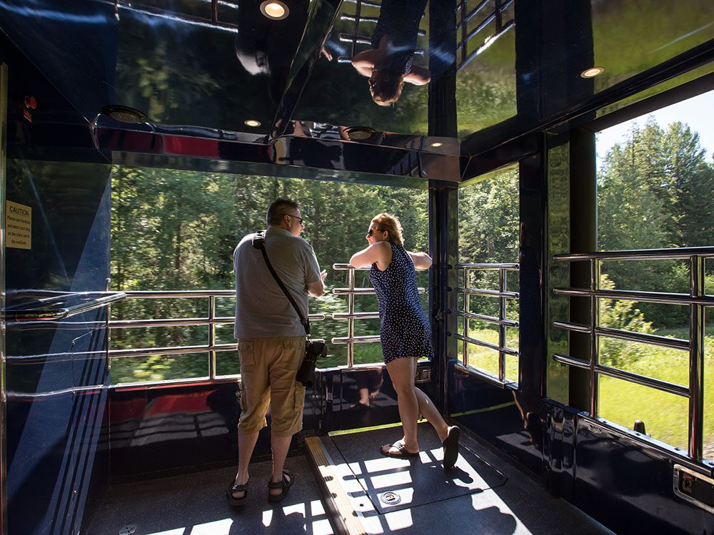 Outdoor viewing platform on Rocky Mountaineer