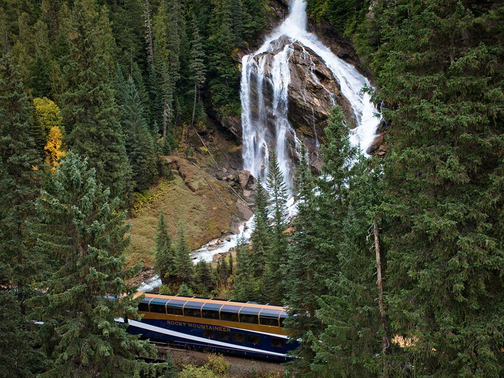 Rocky Mountaineer at Pyramid Falls