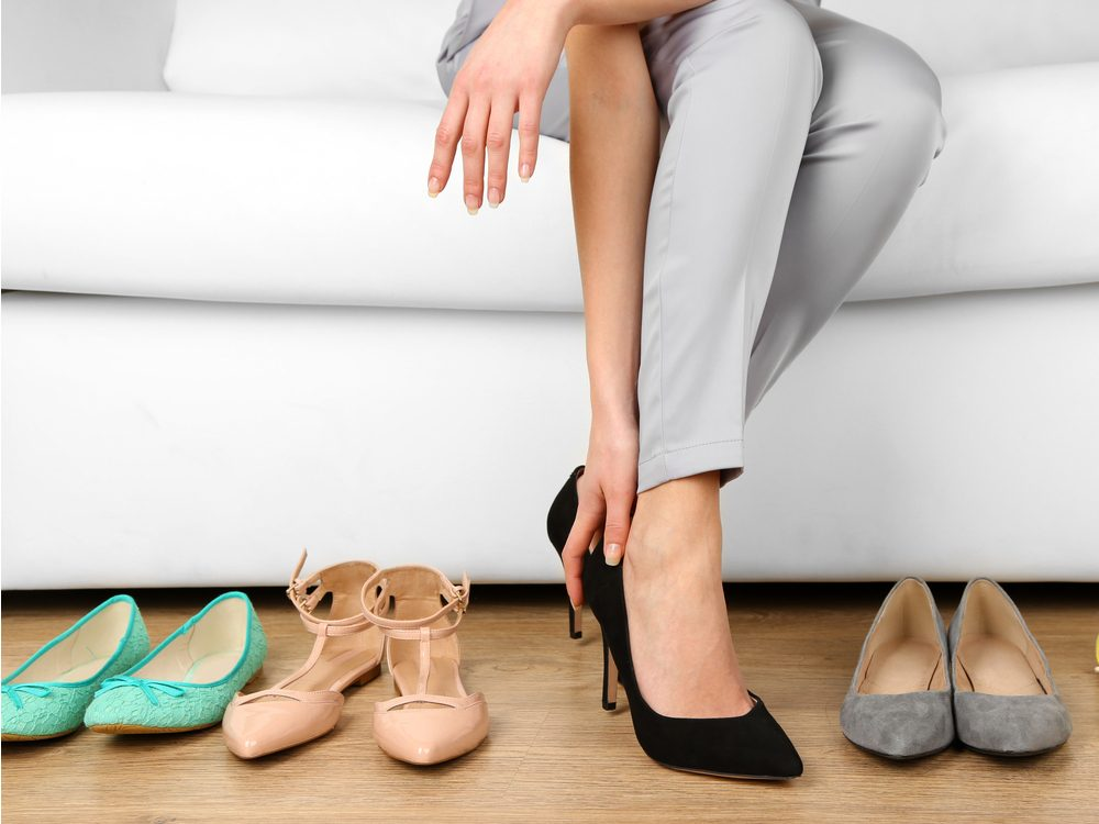 Low heels or flat shoes can make you look older