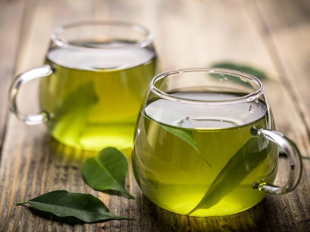 Sip green tea with breakfast
