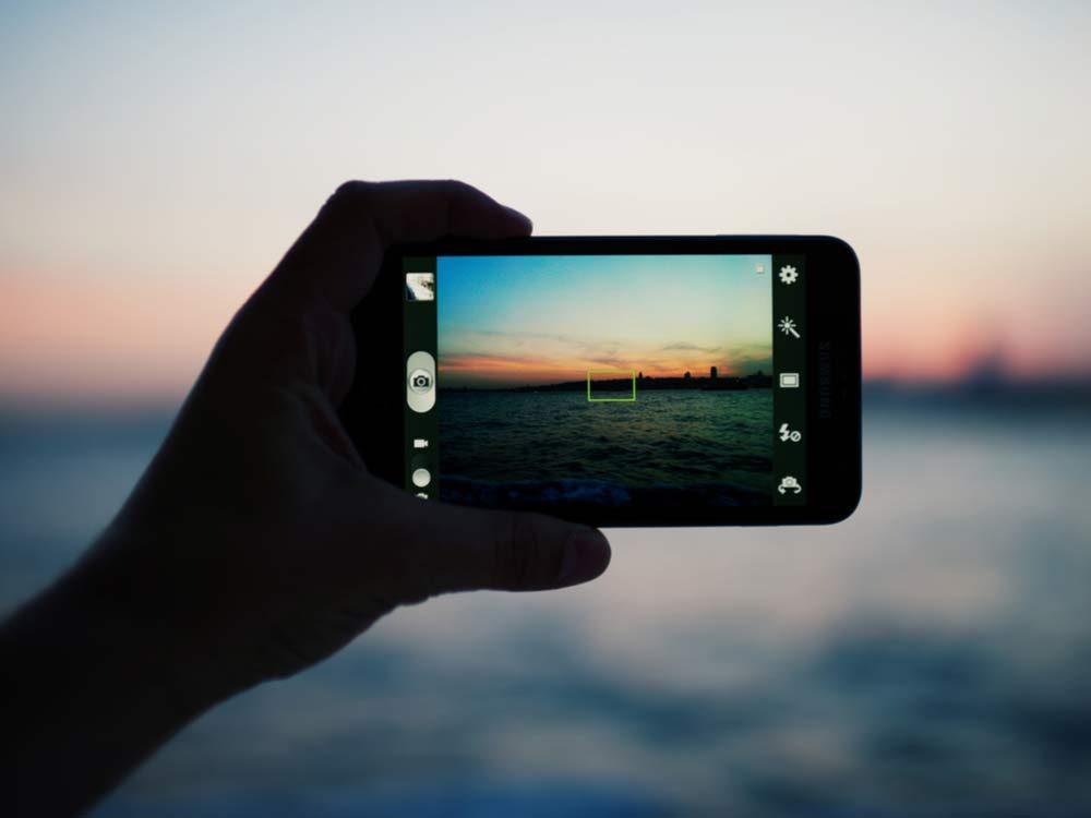 Taking photos of ocean