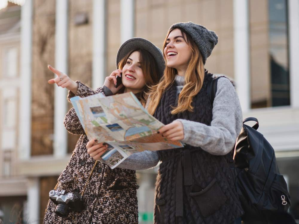 Two female friends travelling