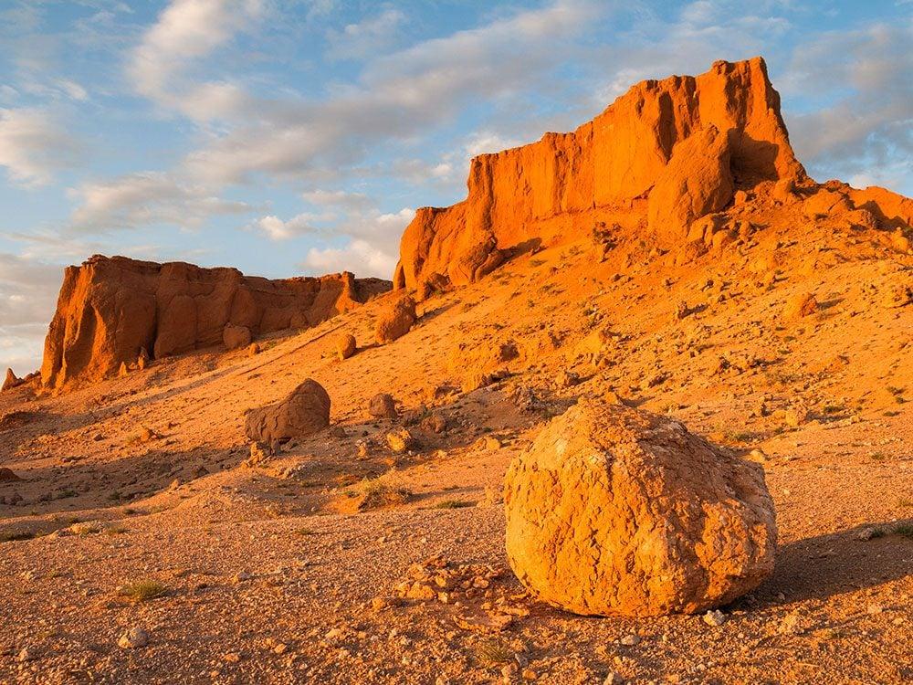 Flaming cliffs of South Gobi Desert