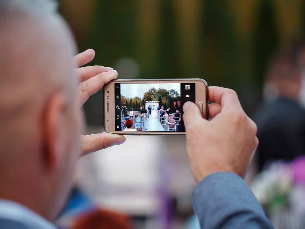 Taking photo at wedding