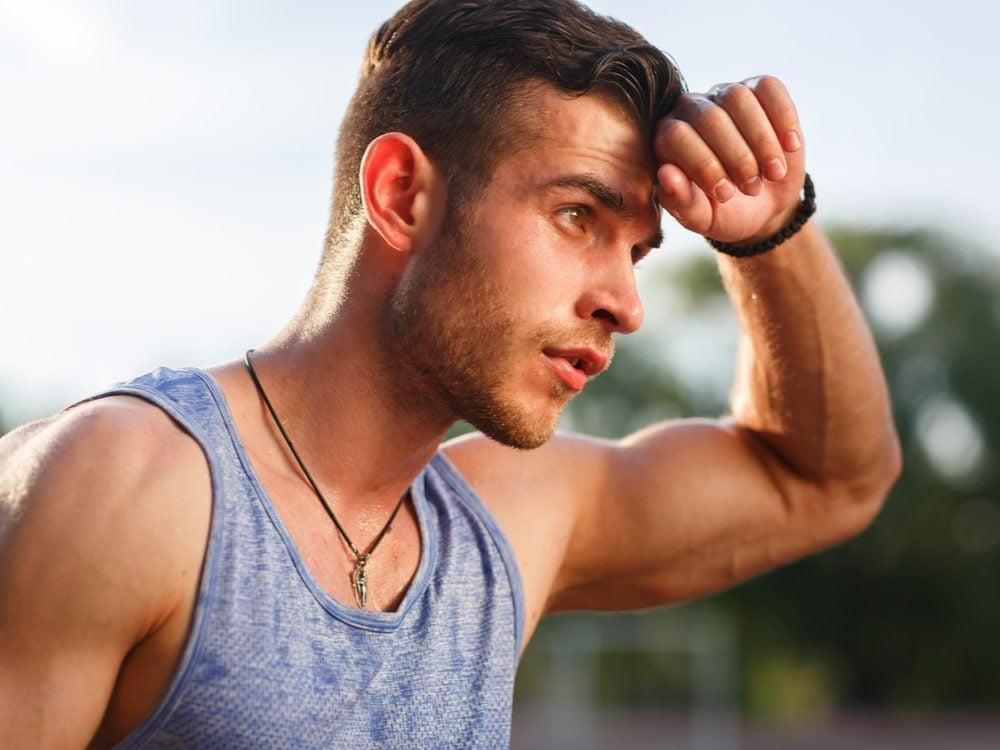 Man sweating outdoors